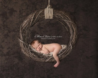 Digital Backdrops/Props (Hanging Newborn Digital Backdrop Twig Swing on Dark Brown Textured Background)
