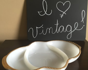 Vintage Fire King 3-Section Relish Tray -Candy Dish - Vanity Tray - White Milk Glass with Gold Beaded Hobnail Trim