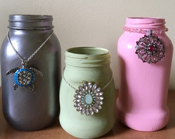 Hand painted Mason jars with jewels