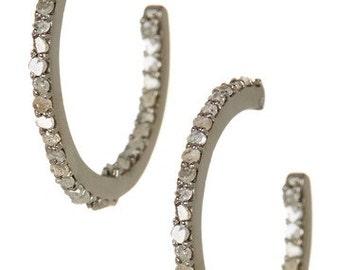 0.5 cts Genuine Diamond Hoop Earrings, Diamond Earrings, sterling silver and pave diamond hoop earrings