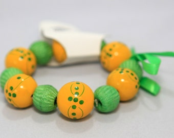 Green & Yellow Handpainted Wood Bracelet w/ Green Ribbon (D) Auction