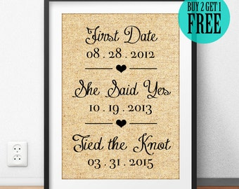 The First Date, The Yes Day, The Best Day, Personalized Burlap Sign, Wedding Gift, Newlywed Print, Anniversary Gift, Rustic Home Decor, CM40