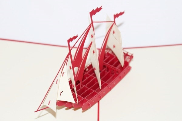 3D Red Ship, Pop Up Birthday Card, Pop Up Card, Greetin