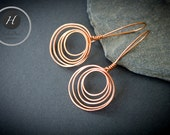 Copper hoopsLayered circle earringsrustic copper hoopsboho hoopshammered copper circlesbirthday gift for her fiancee woodland wedding