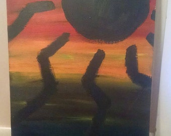 Hand stretched and painted sun canvas