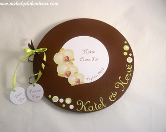 Guestbook round wedding nature Orchid green anise, chocolate & white