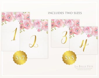 TABLE NUMBERS Watercolor Floral Pink and Gold Table Numbers in 5x5 + 5x7 sizes, numbers 1-20