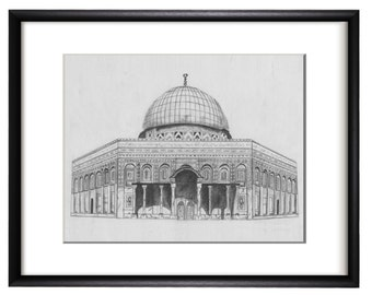 Dome of the Rock Graphite Hand Drawing