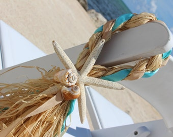 Beach Wedding Chair Decor-Aisle Decor-Teal-Seashells-Starfish