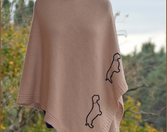 Wirehaired Dachshund in beige poncho
