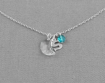 Personalized Charm Necklace, Moon Charm, Sterling Silver Necklace, Initial Charm, Birthstone
