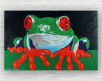 Frog Painting Print Canvas Art from Green Frog Fine Art Canvas Painting - Nature Wildlife Art Print