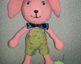 Knitted soft toy, Pink Bunny. Rabbit. crocheted. Handmade.The toy is handmade.