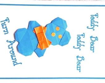 valentine card; origami teddy bear card; origami valentine card; love card; hand made card