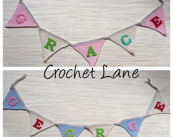 vintage style bunting, wedding bunting, childrens name decor, nursery/playroom decor, personalised name bunting, childs room decoration