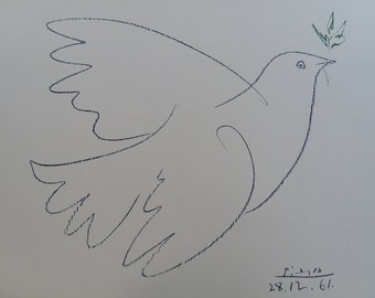 Pablo Picasso: The dove of peace, lithograph signed