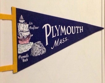 "Plymouth Mass. The Mayflower Plymouth Rock Flag/ Pennant 17"" x 7"""