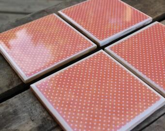 50% off! Orange and white polka dot coaster set