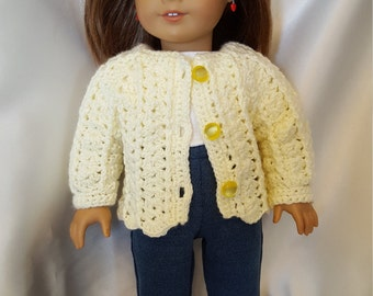 Soft yellow sweater and hat set for 18 inch doll.