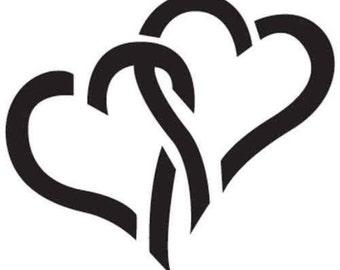 Interlocked Hearts Vinyl Decal