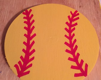Softball wooden door hanger, Softball, Softball hanger