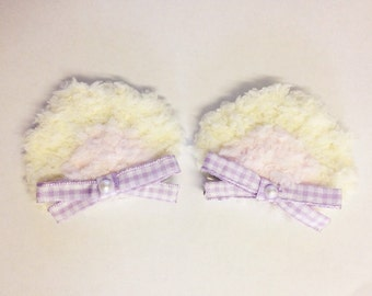 Kawaii Fluffy Fairy Kei Bear Ear Hair Clips, Sweet Lolita, Mahou Kei, Pastel Decora Harajuku etc inspired