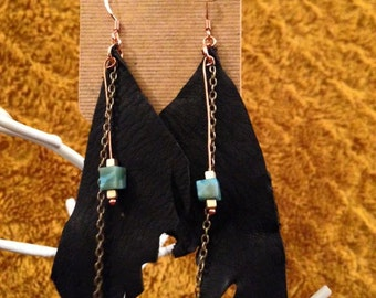 Black leather and Turquoise earrings