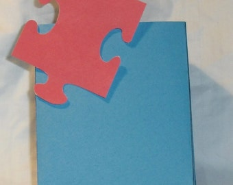 Autism Red  Puzzle PieceTreat or Gift  Box ~ Gift Bag , Paper Bag, Treat Box, Candy, Jewelry Gift Bag, Party Favor