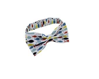 Boys Bow tie - Fish Print - Bow tie for boys - baby bow tie - Wedding bowtie - Boys 1st Birthday bow tie - Kids Bow Ties