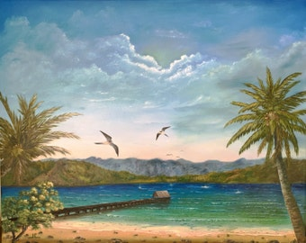 Hanalei Bay, Kauai, Hawaii. Original Seascape in Oil by Hawaii Artist. Wrap-Around Canvas. Free Shipping.  Aloha.
