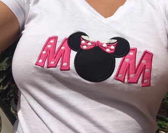 ADULT SIZE Womens MoM Mouse Ears Family Disney Vacation Personalized Embroidery Applique Shirt