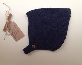 Baby Pixie Bonnet hat 100% cashmere color Blue navy hand knit,   size 6-12 months
