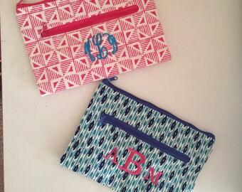 Makeup bag, zipper pouch, Aztec print, monogrammed