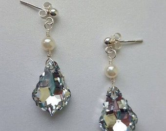 Sterling Silver Baroque style earrings made with Swarovski crystals & pearls