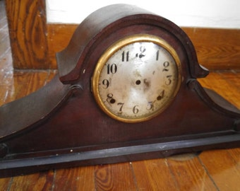 Antique Gilbert mechanical mantle clock  mahogany case for parts restoration