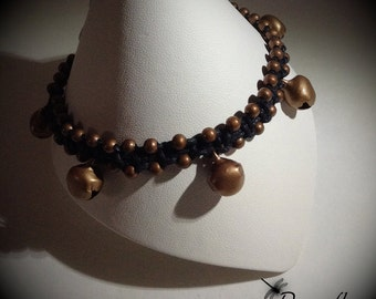Black Macrame Anklet With Antique Brass Beads and Bells, Hippie, Boho