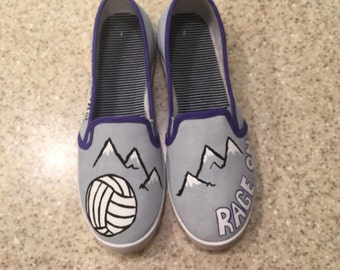 Mountain Rage Volleyball Club Hand Painted Canvas Shoes