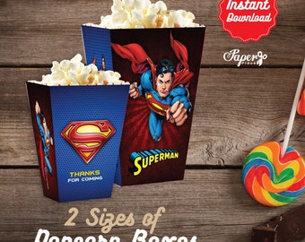 Superman Popcorn Box, Printable Superman Popcorn Boxes, Superman Birthday decoration, instant download, DIY, Superman Party