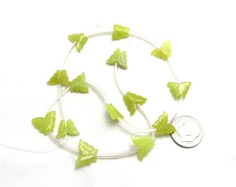 1 Strand Natural Olive Jade Carved Butterfly Beads (B94i)