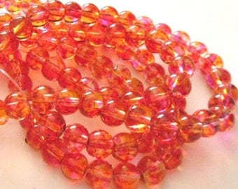 1 strand Spray Painted Transparent Glass Round Beads 6mm (B38a3)