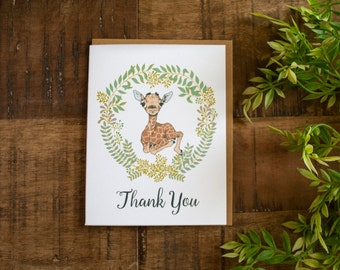 Baby Shower Thank You Card, Thank You Card, Giraffe Thank You, Neutral Baby Shower Thank You Card, Baby Shower Thank You Card