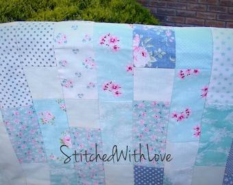 Minky Patchwork Baby blanket -- Tilda Fabrics. --Ready to Ship