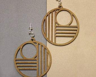 round laser cut earrings LEVY from MDF, geometric