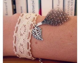 Lace bracelet, feather and leaf