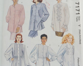 UNCUT 90S McCall's Paper Sewing Pattern 7171 Misses Shirts Size Y Xsm, Sml, Medium