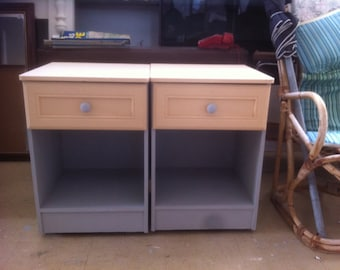 2 matching hand painted bedside cabinets 63