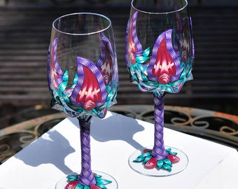 2 Decorated Wine Glasses, Polymer Clay Wine Glass, Unique Wedding Gifts for Couple, Red Wine Glasses, Wineglasses, Valentine Wine Glasses