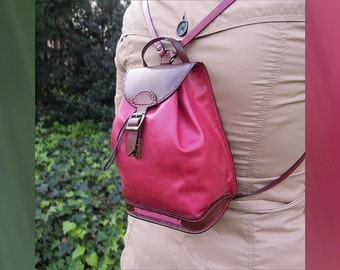 Pink leather handmade backpack