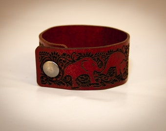 Laser Engraved Leather Tumbling Elephant Cuff Bracelet - Red