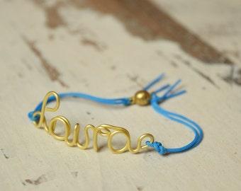 Customized Bracelet, Personalized Bracelet, Name Bangle, Custom Bange, Wire Brass Bangle, Name Bracelet, String Bracelet
